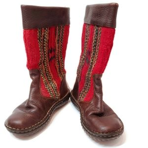 Born Womens Sz 7 Boots Leather & Wool Aztec Boots